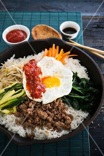 Bibimbap (rice dish from Korea)