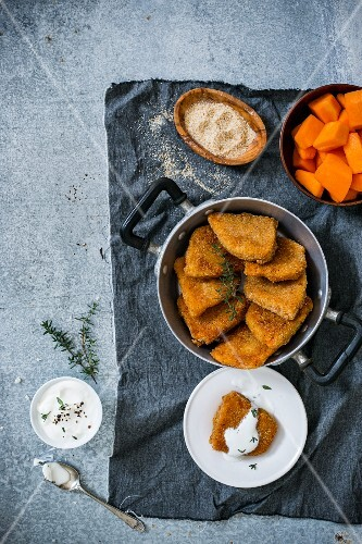 Breaded pumpkin wedges from Lombardy (Italy)
