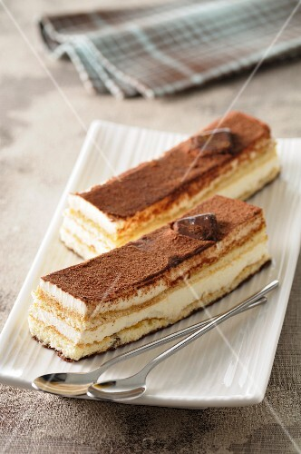 Two portions of tiramisu