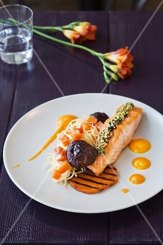 A dish from Villa Merton: salmon with shiitake mushrooms, Frankfurt am Main, Germany