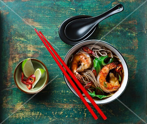 Soba noodle soup with prawns (Asia)