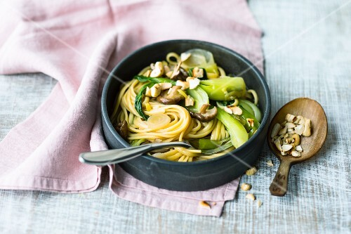Asian noodles with pak choi and shiitake mushrooms