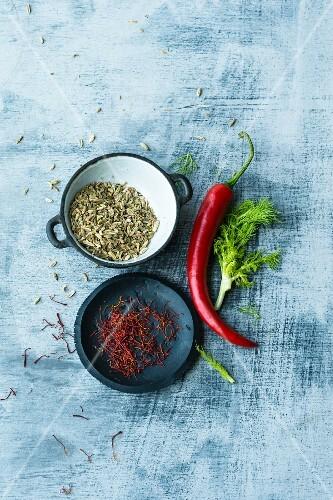 An arrangement of ingredients for fennel and saffron pasta