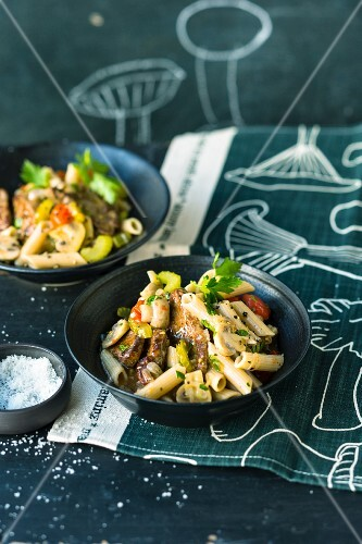Penne pasta with mushrooms and beef