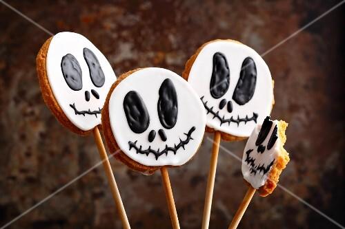 Ghost cookies on sticks