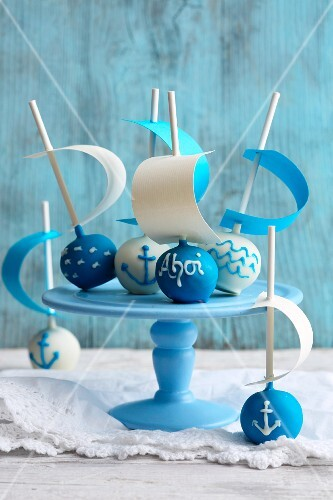 Nougat cake pops with cream cheese and maritime decorations
