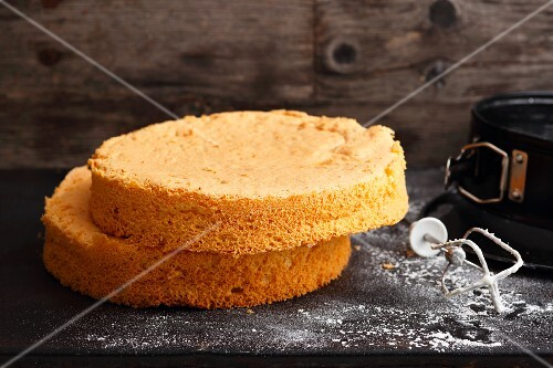 A halved vanilla cake based