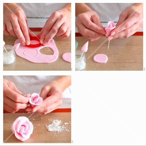Fondant roses being made