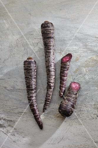 Primaeval carrots, whole and halved