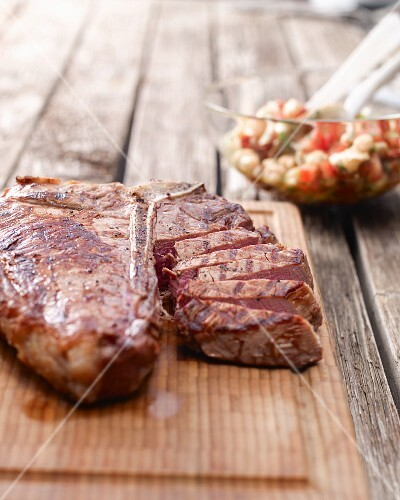 Grilled porterhouse steak with a chickpea salad
