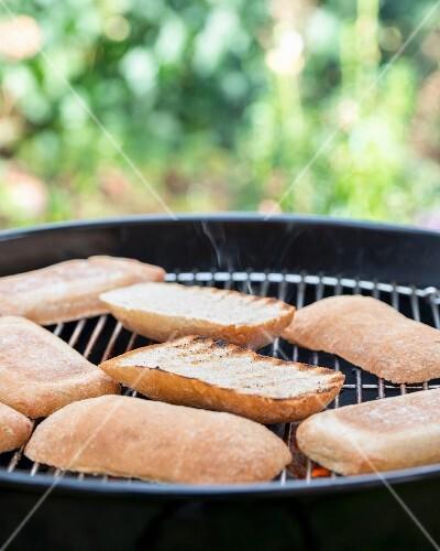 Ciabatta rolls on a barbecue