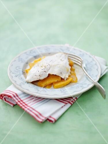 Fish fillet on a pumpkin medley