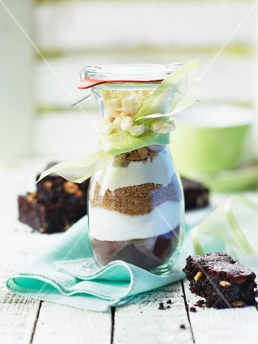 A baking mixture for making peanut brownies in a glass as a gift