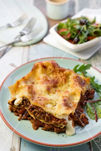 A portion of meat lasagne