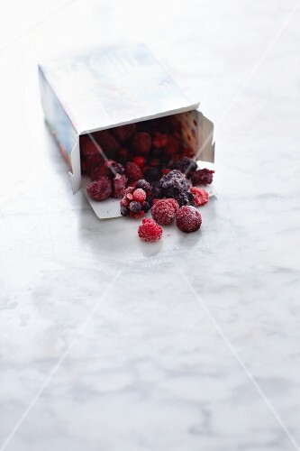 Frozen berries in a box