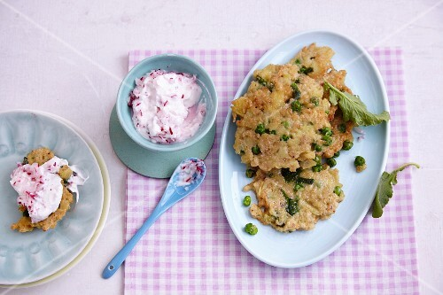 Vegetarian potato and pea fritters