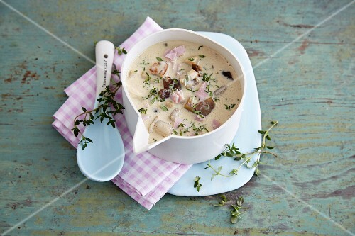 Chestnut and mushrooms sauce with thyme