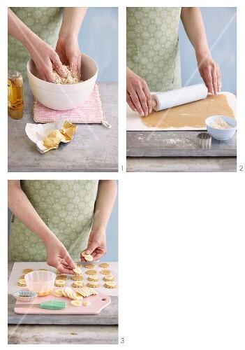 Vegetarian banana biscuits being made