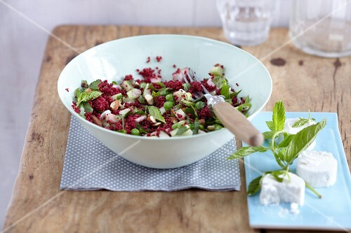 Beetroot and almond couscous