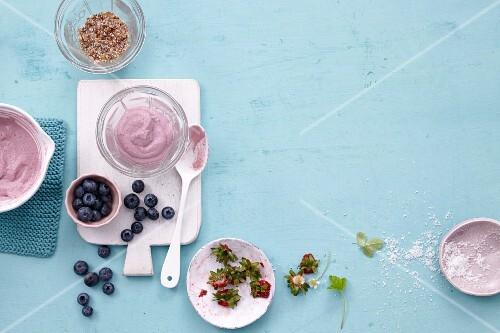 Blueberry and strawberry cream