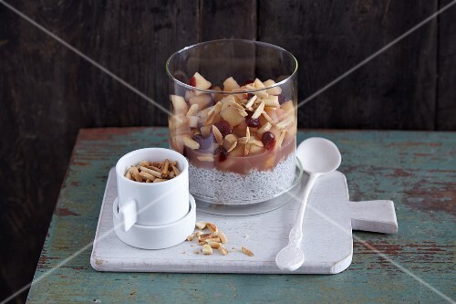 Chia seed pudding with a cranberry and apple compote