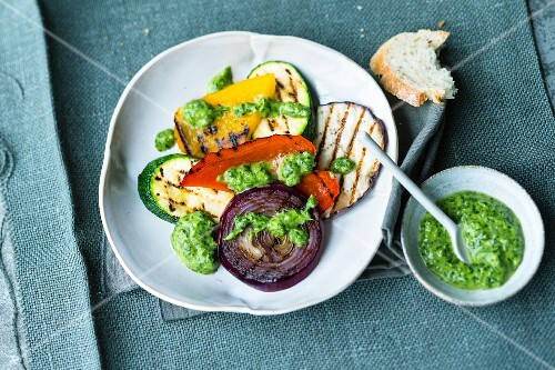 Grilled vegetables with mojo verde (Spain)