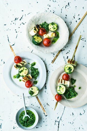Halloumi skewers with zhug sauce