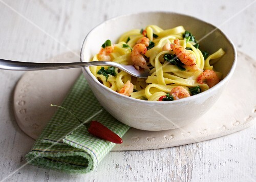 Tagliatelle with crayfish and wild garlic