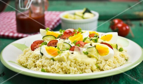 Egg ragout on a bed of couscous