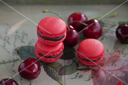 Macaroons with cherry ganache