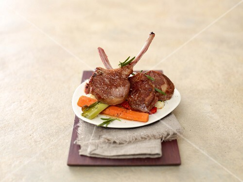 Lamb chops and roasted vegetables