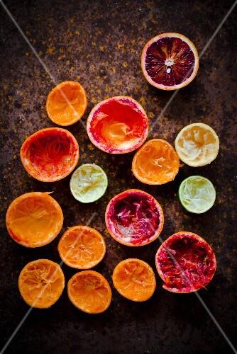 An arrangement of juiced citrus fruits