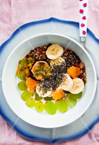 Fresh fruit and yoghurt with chia seeds and nuts