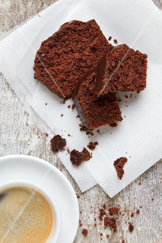 Chocolate cake and a cup of coffee