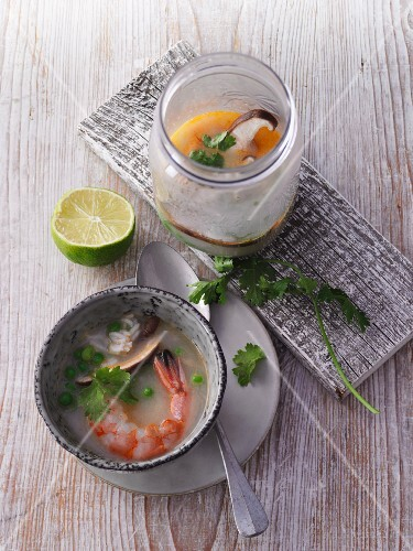 Coconut rice soup with prawns form a jar