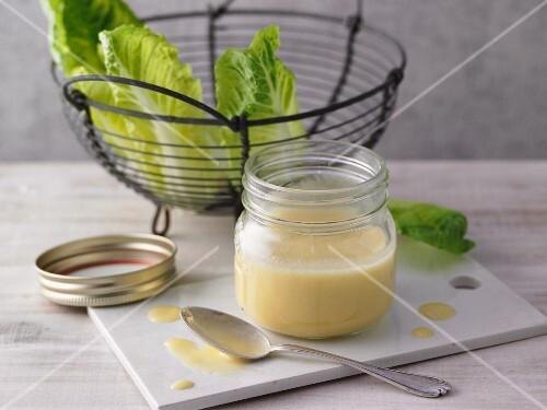 A jar of mustard vinaigrette