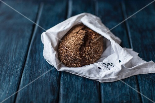 Homemade rye in a fabric napkin