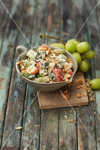 Winter Waldorf salad with apples, grapes and Roquefort cheese