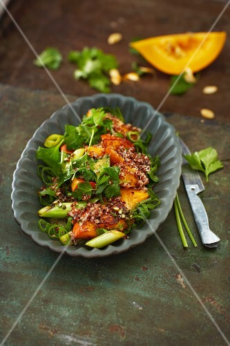 Hokkaido quinoa salad with maple syrup dressing