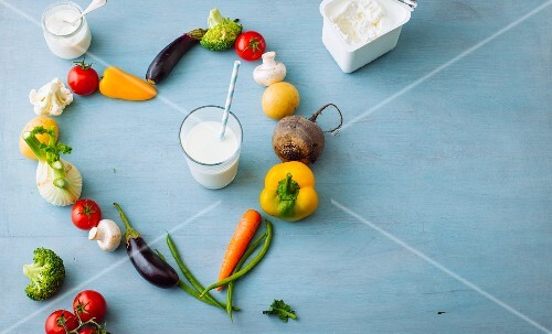 A vegetable heart with dairy products