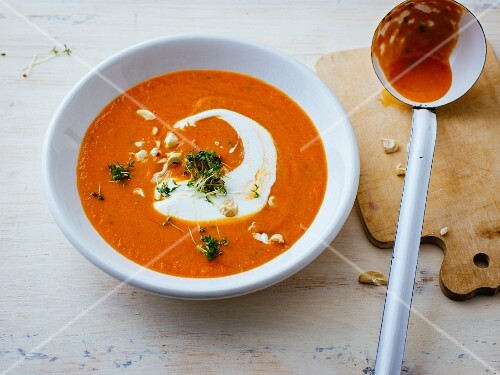 Tomato soup with cashew nuts and cress