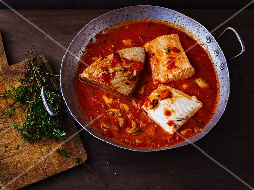 Mediterranean fish and mussel ragout with a tomato and olive sauce