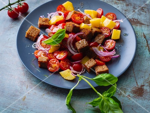 Tuscan bread salad with potatoes and cherry tomatoes