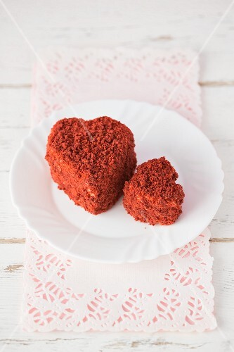 Heart -haped Red Velvet cakes, one big and one small
