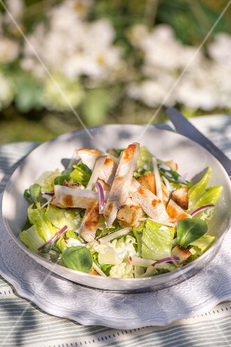 Mixed leaf salad with chicken, red onions and croutons
