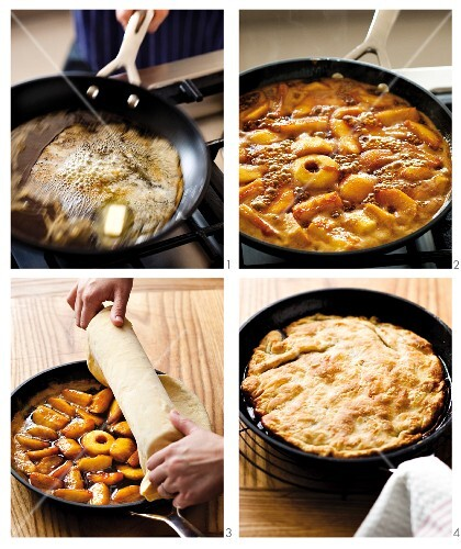 Tarte Tatin (French apple cake) being made