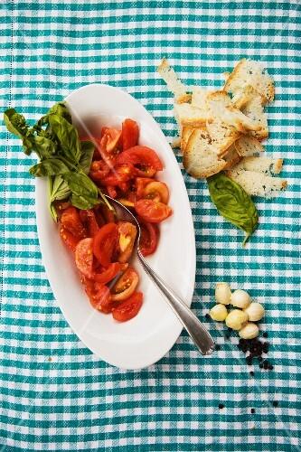 Insalata di pomodoro e basilico (tomato salad with basil, Italy)
