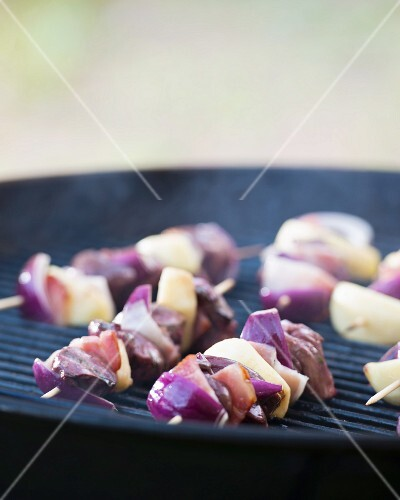 Turkey liver skewers on a barbecue