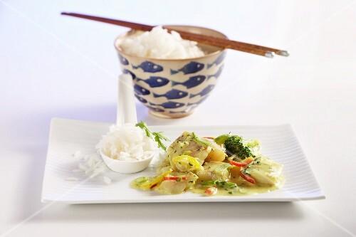 Fish curry with jasmine rice
