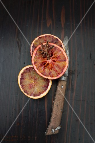 Blood orange slices with star anise